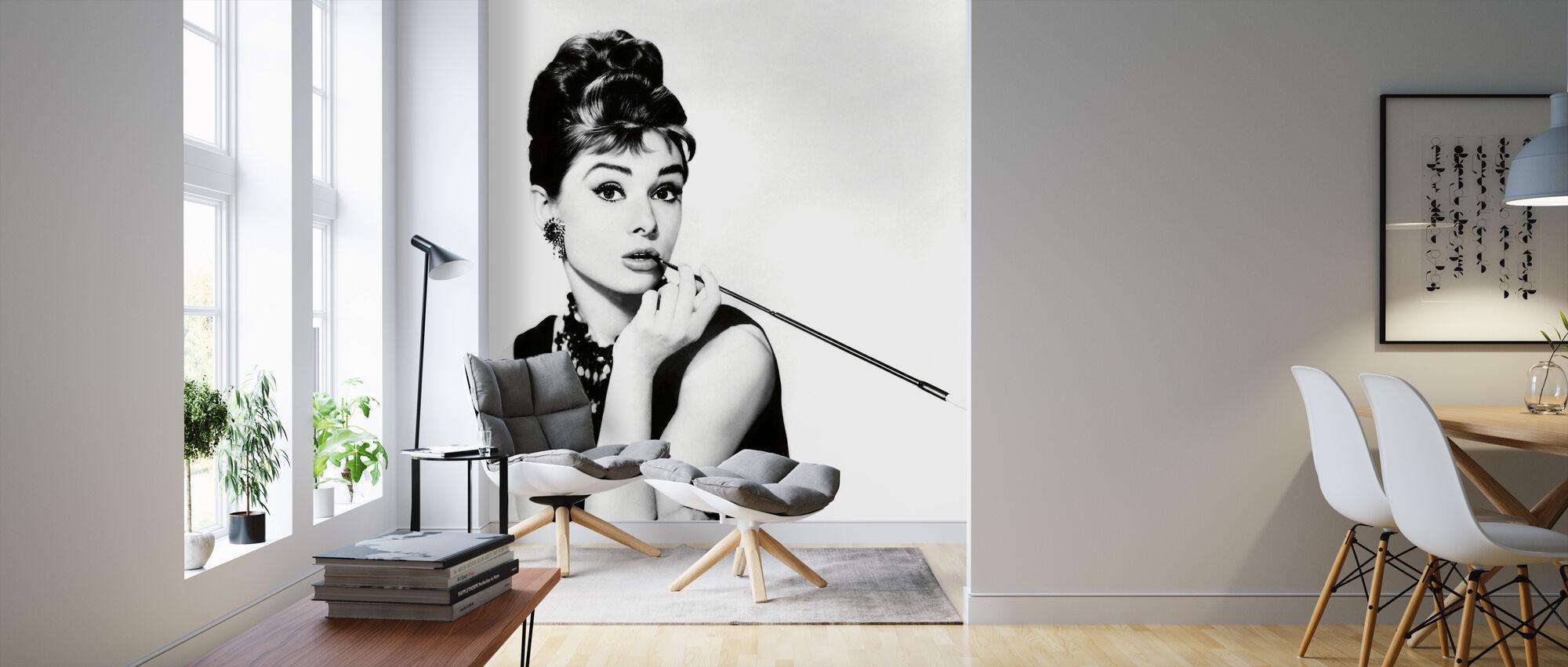 Audrey Hepburn bij ontbijt bij Tiffanys - Behang - Woonkamer