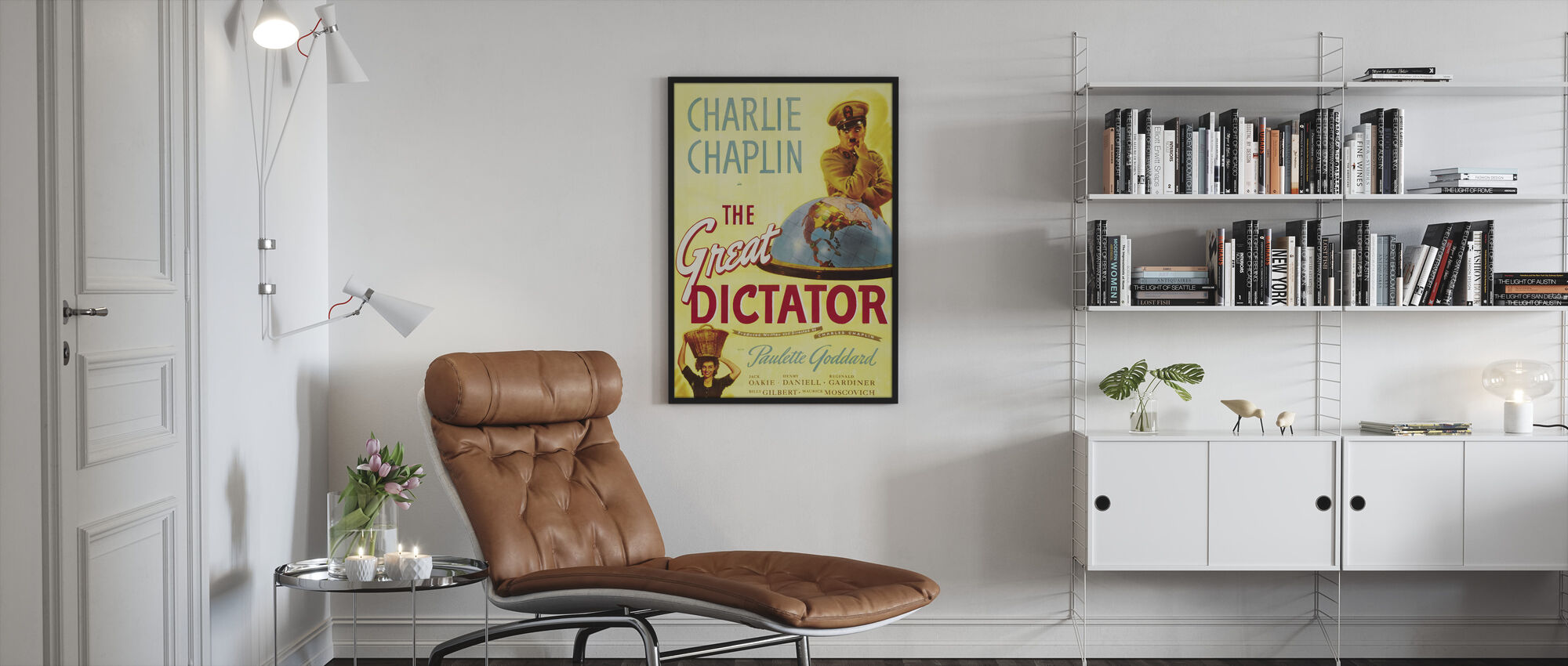 Charlie Chaplin in the Great Dictator - Framed print - Living Room