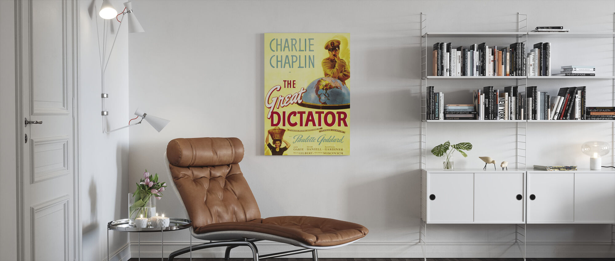 Charlie Chaplin in the Great Dictator - Canvas print - Living Room