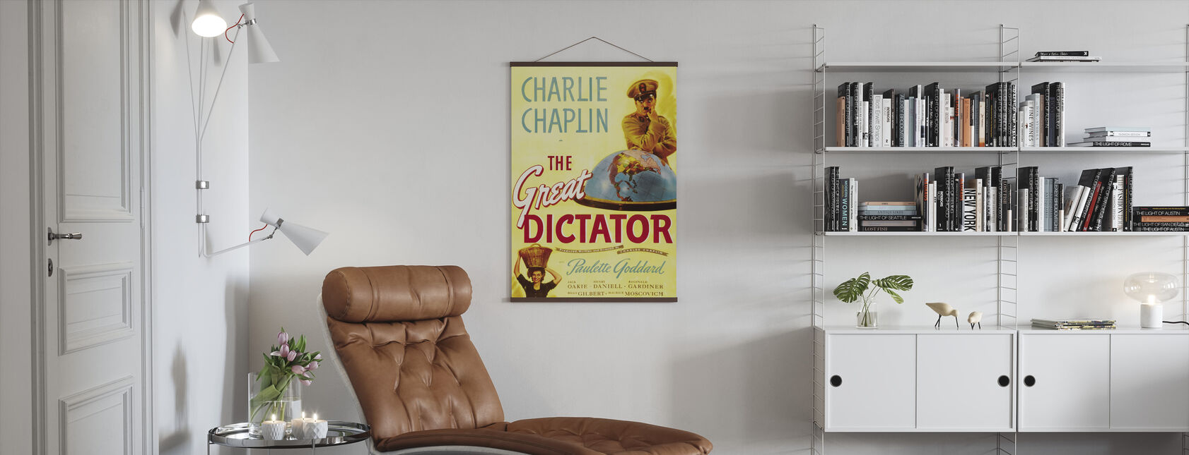 Charlie Chaplin in the Great Dictator - Poster - Living Room