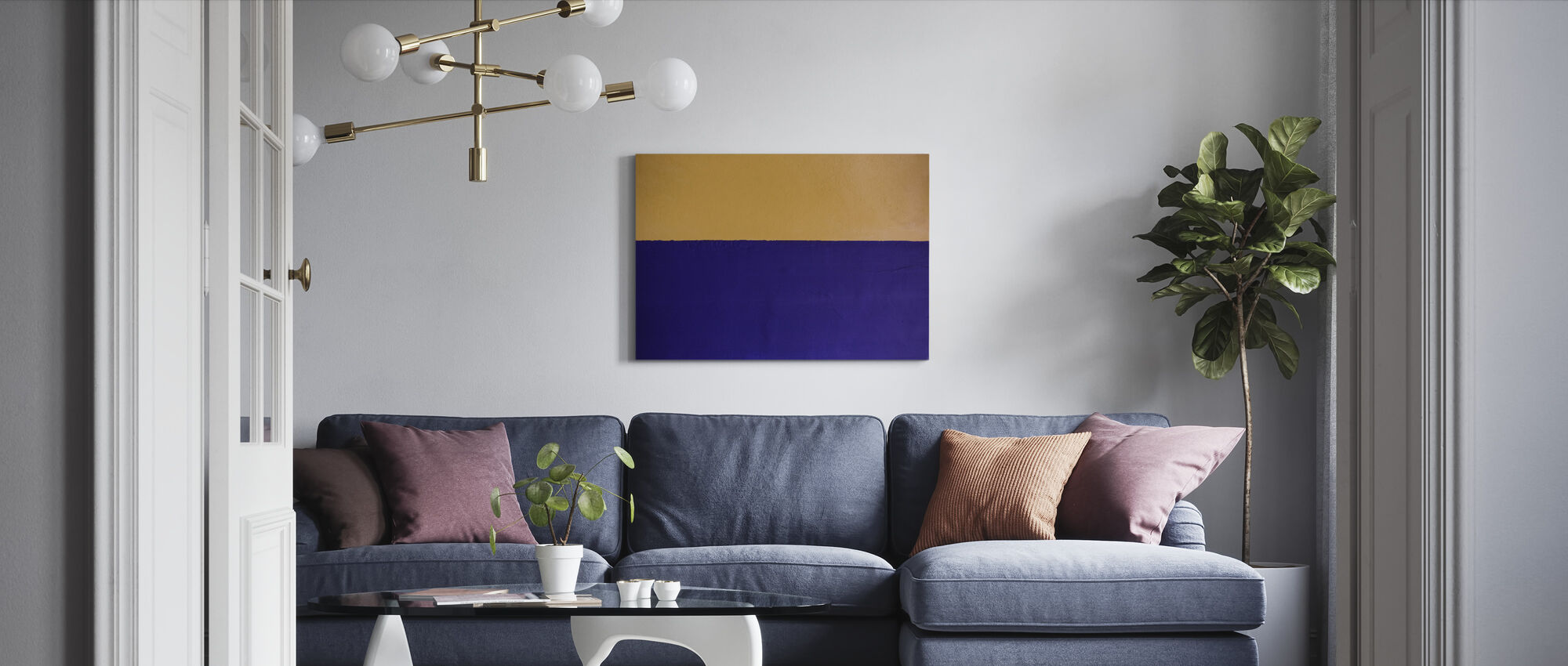 Yellow and Blue Wall - Canvas print - Living Room