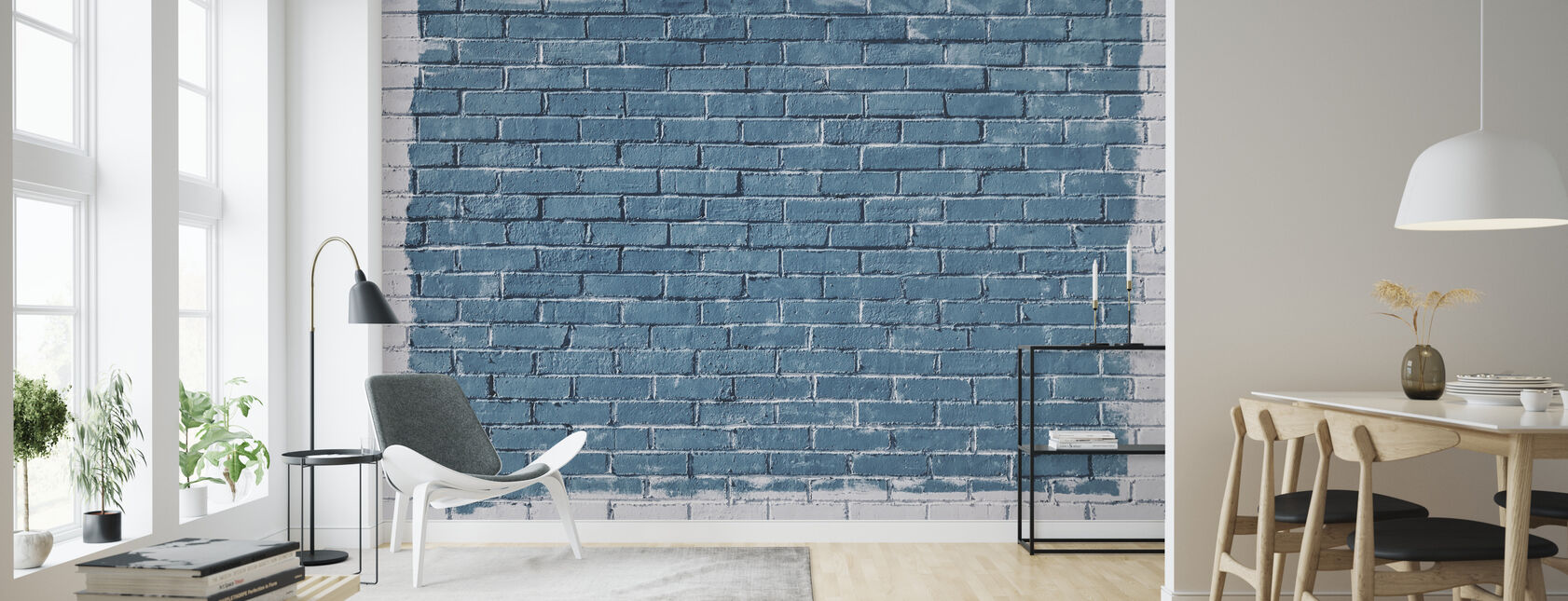 Valkoinen ja sininen tiiliseinä - Tapetti - Olohuone