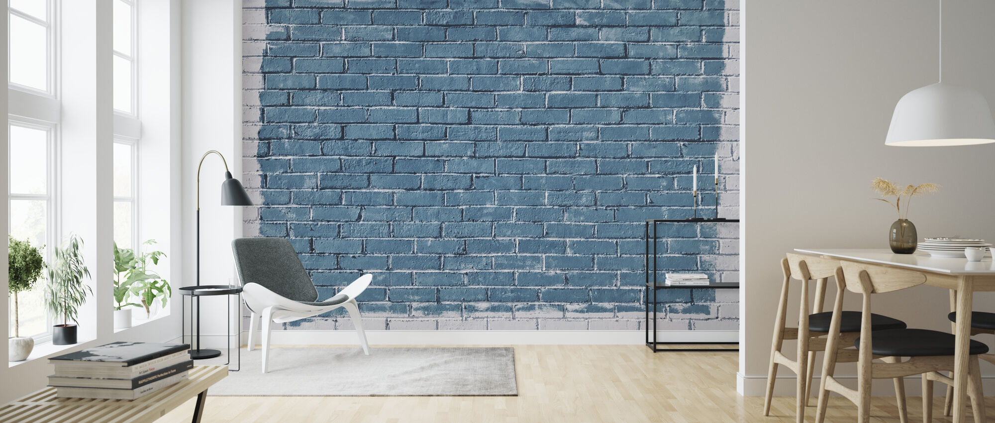 White and Blue Brick Wall - Wallpaper - Living Room