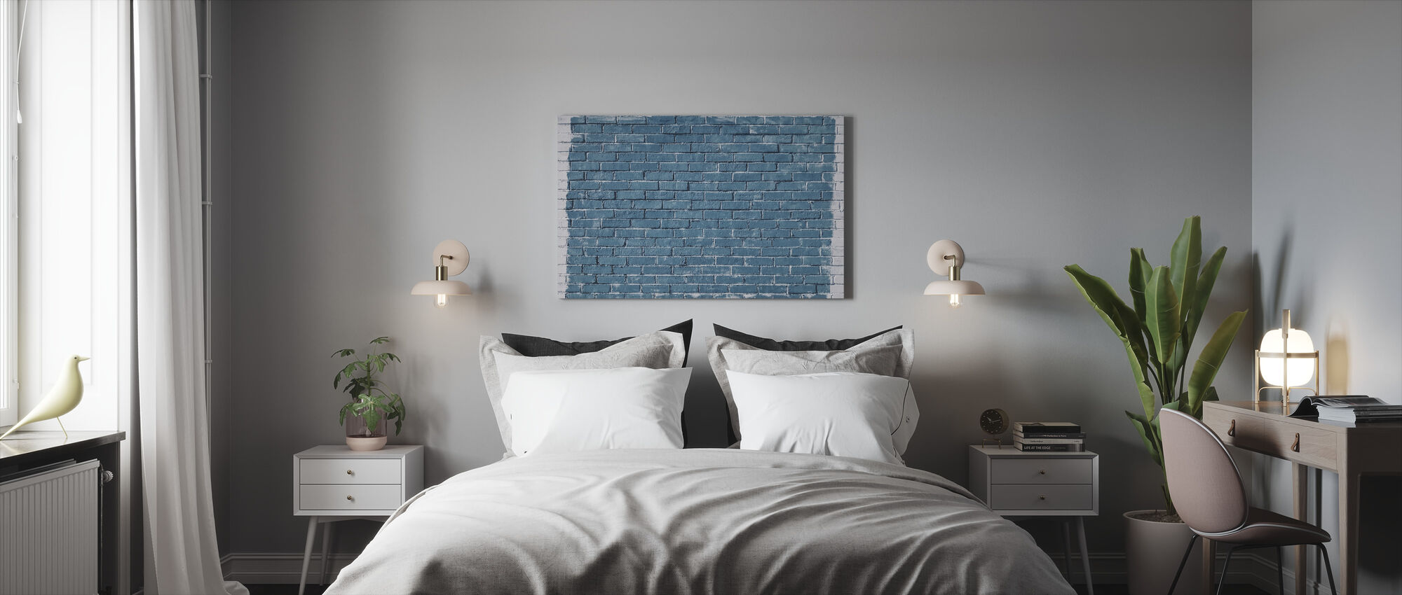 White and Blue Brick Wall - Canvas print - Bedroom