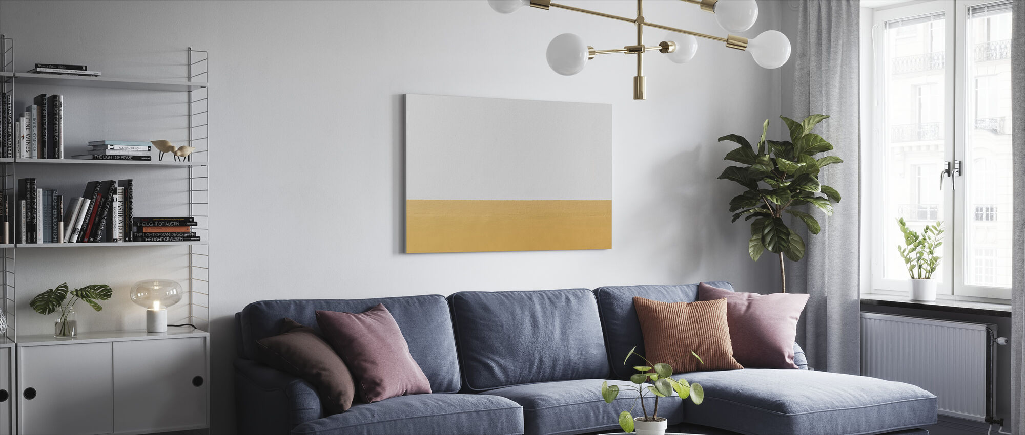 Orange and White Wall - Canvas print - Living Room