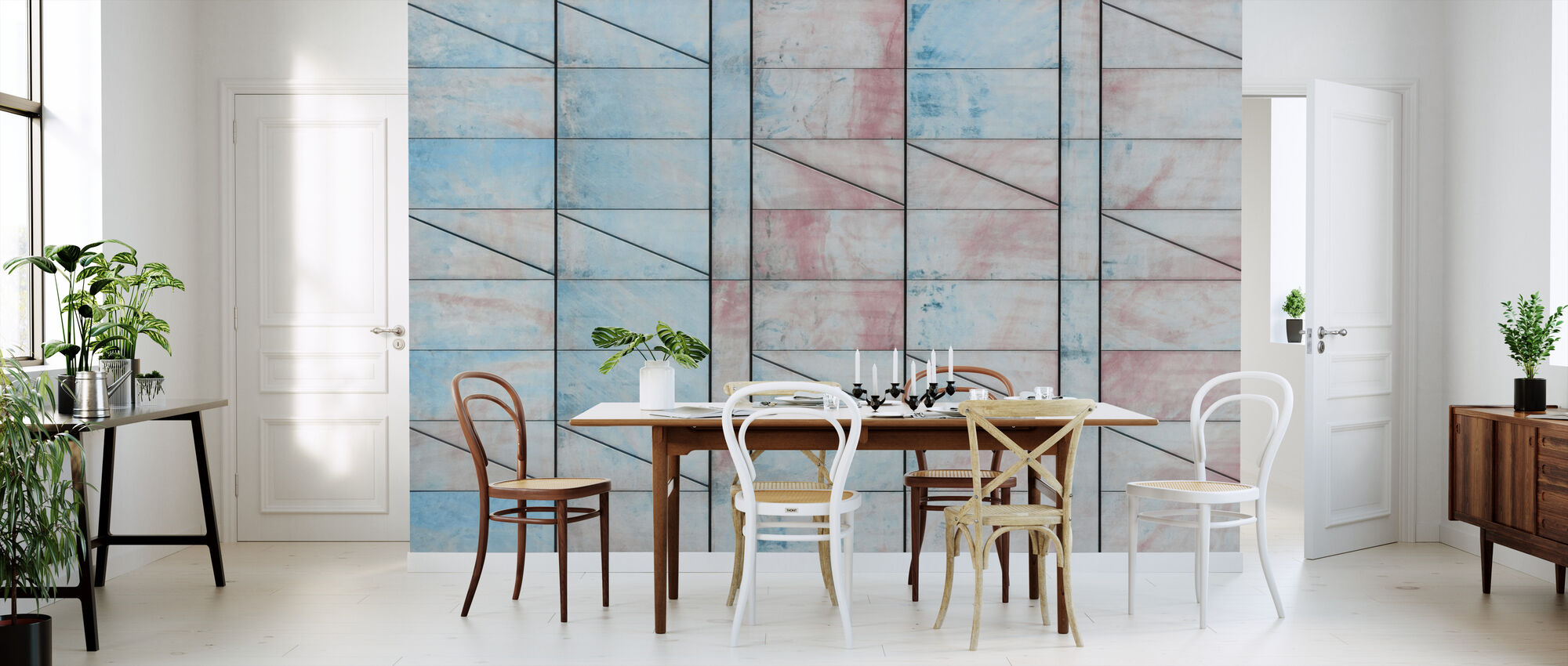 Blue and Red Tiles - Wallpaper - Kitchen
