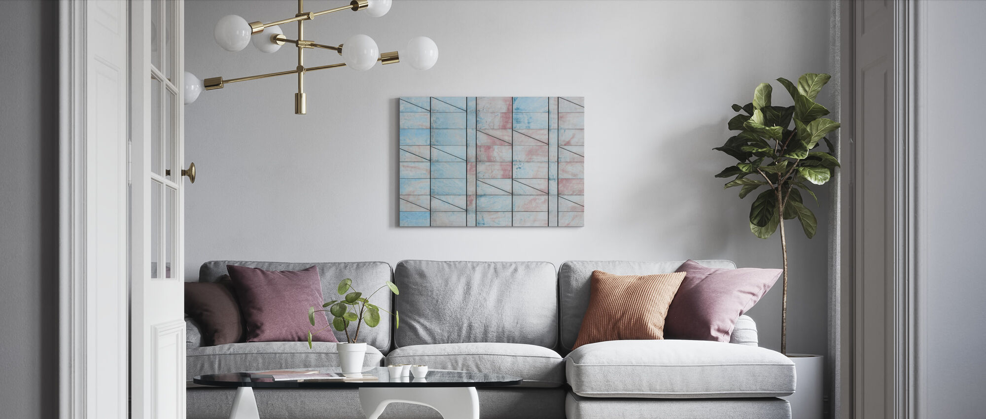 Blue and Red Tiles - Canvas print - Living Room