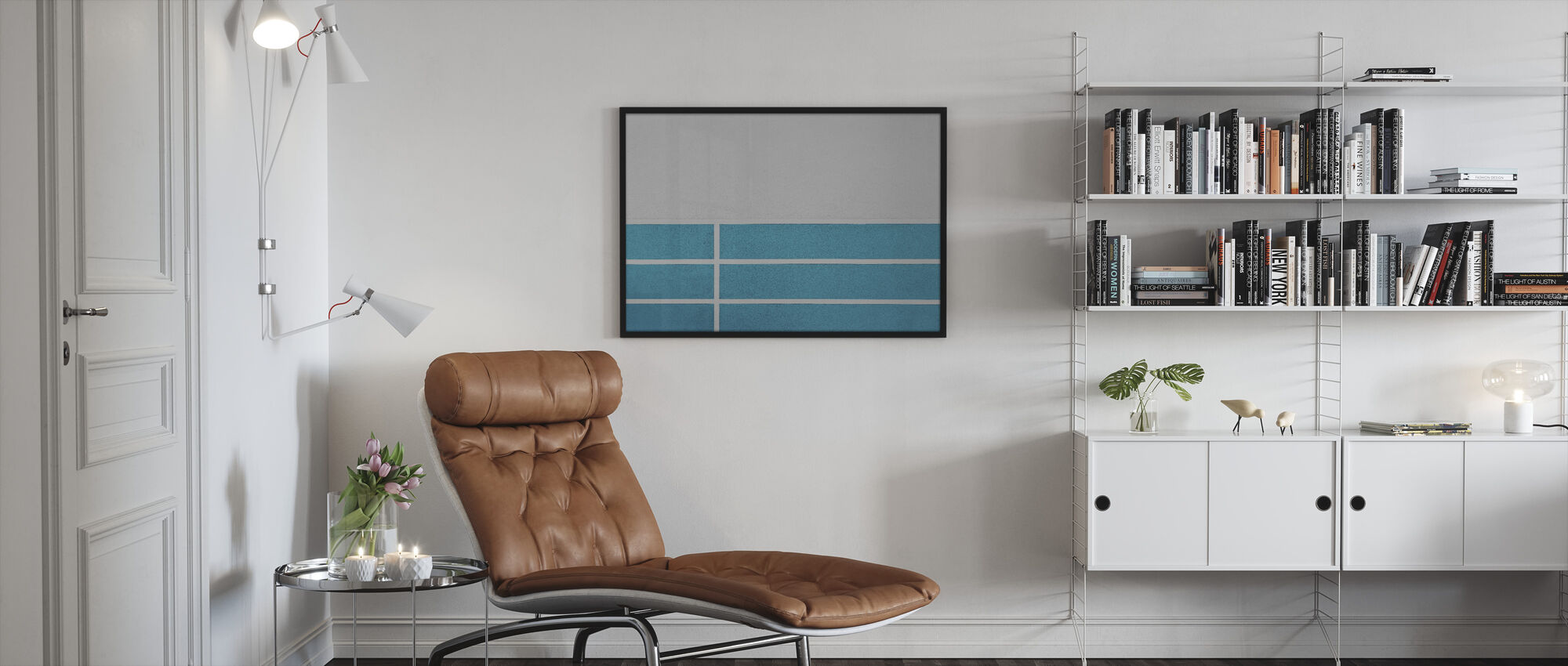 Blue Lines Wall - Framed print - Living Room