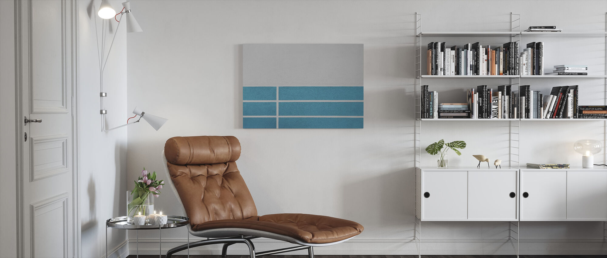 Blue Lines Wall - Canvas print - Living Room