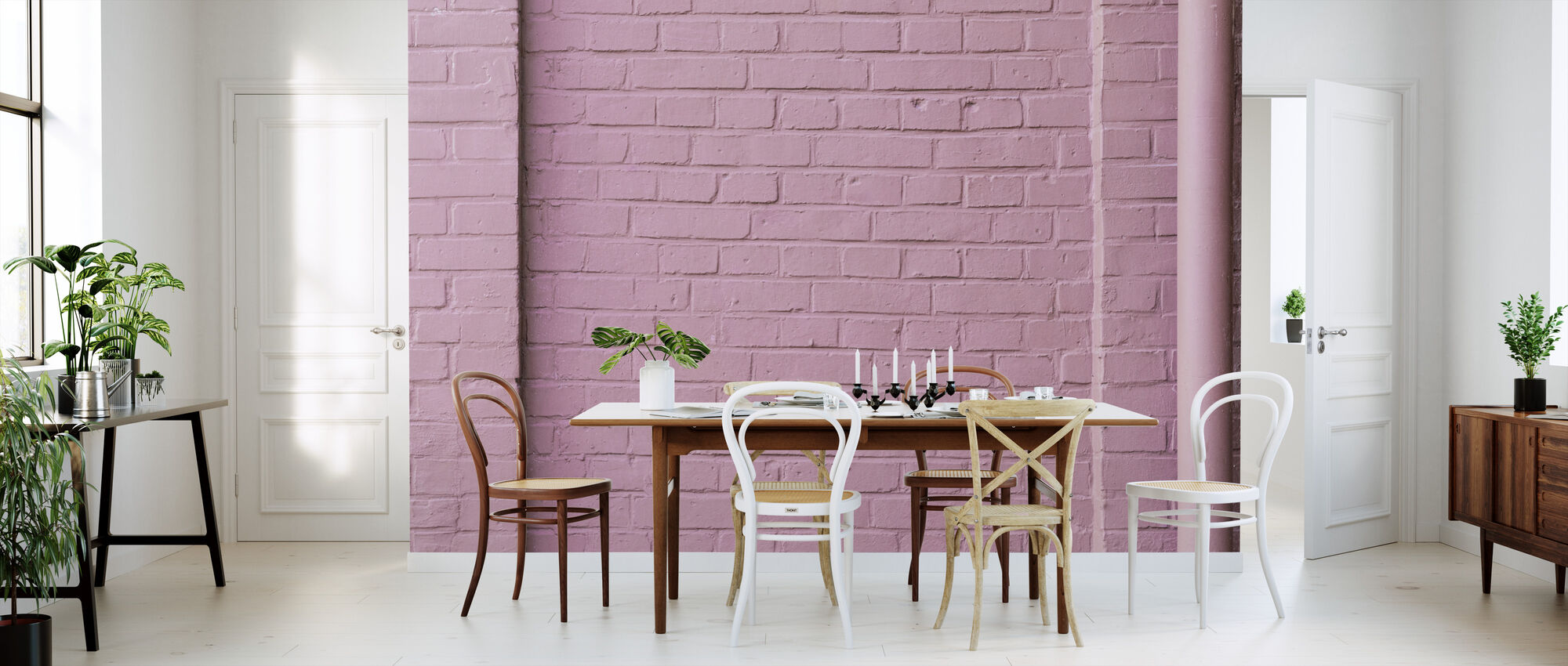 Pink Wall - Wallpaper - Kitchen