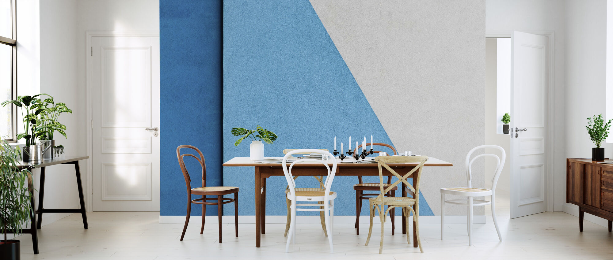 Blue and White Wall - Wallpaper - Kitchen