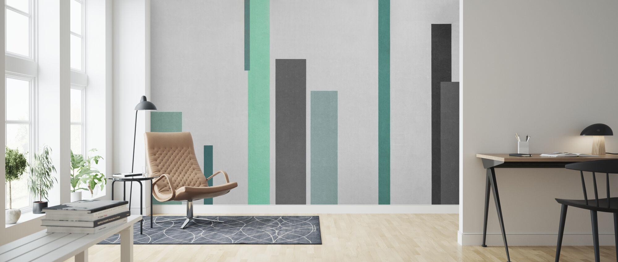 Grøn og grå tekstur - Tapet - Stue