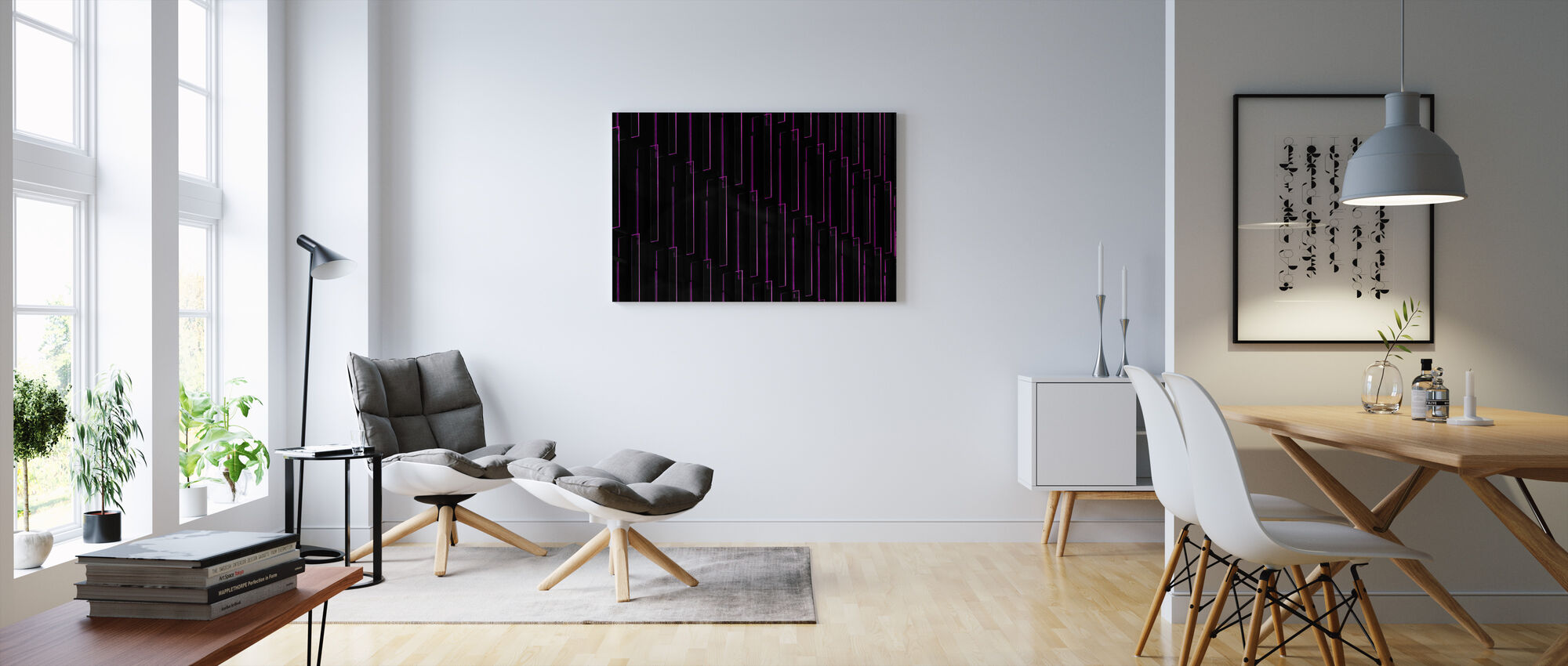 Purple Neon Lights - Canvas print - Living Room