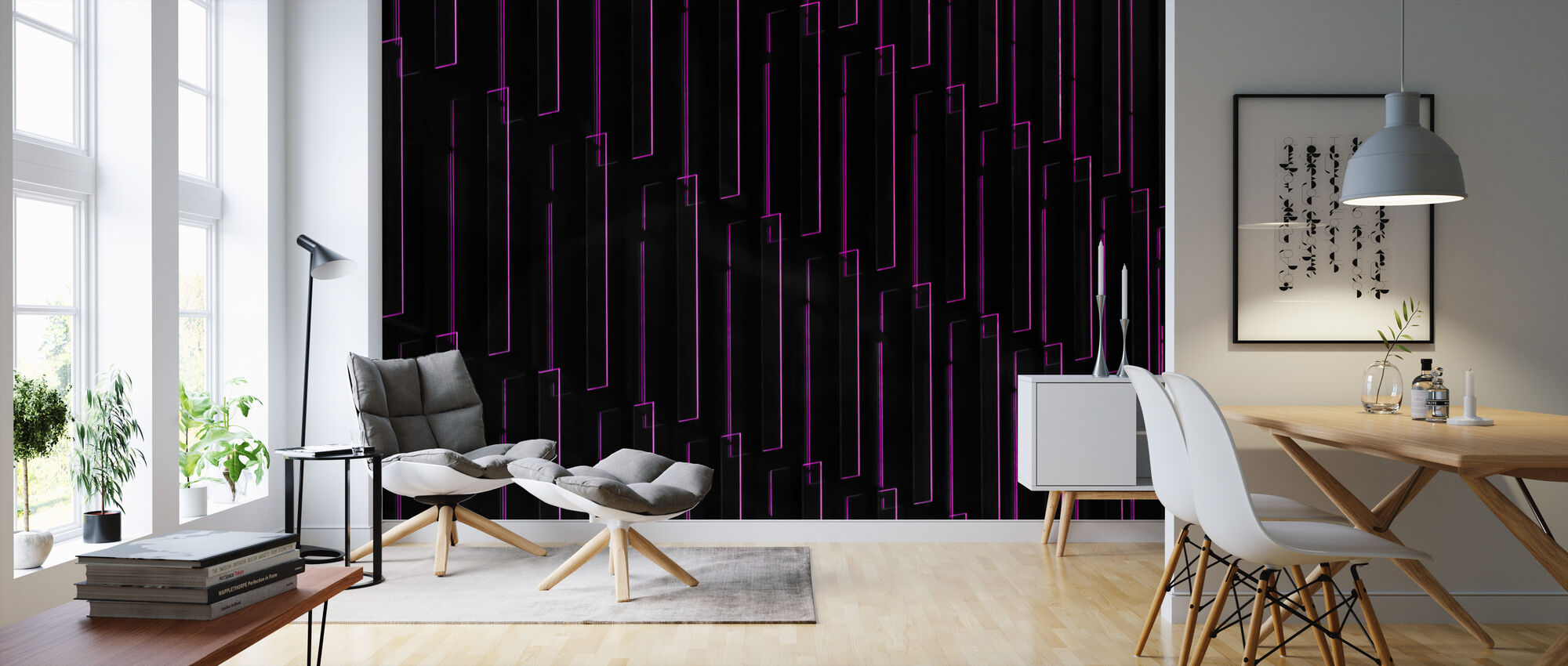 Purple Neon Lights - Wallpaper - Living Room