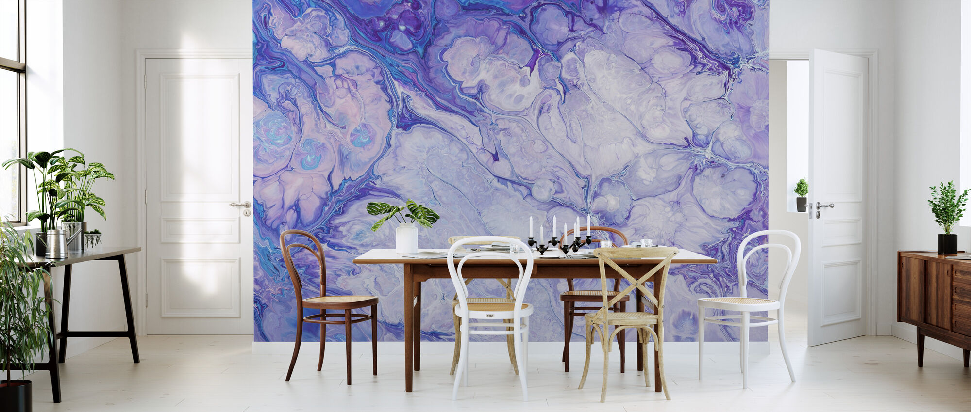 Blue Flower Pattern - Wallpaper - Kitchen