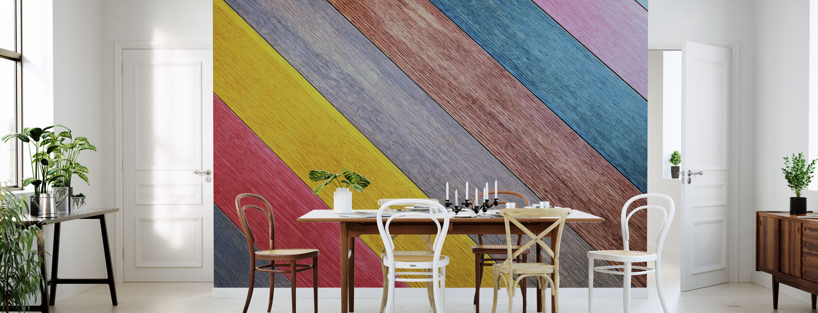Colorful Wood Table - Wallpaper - Kitchen