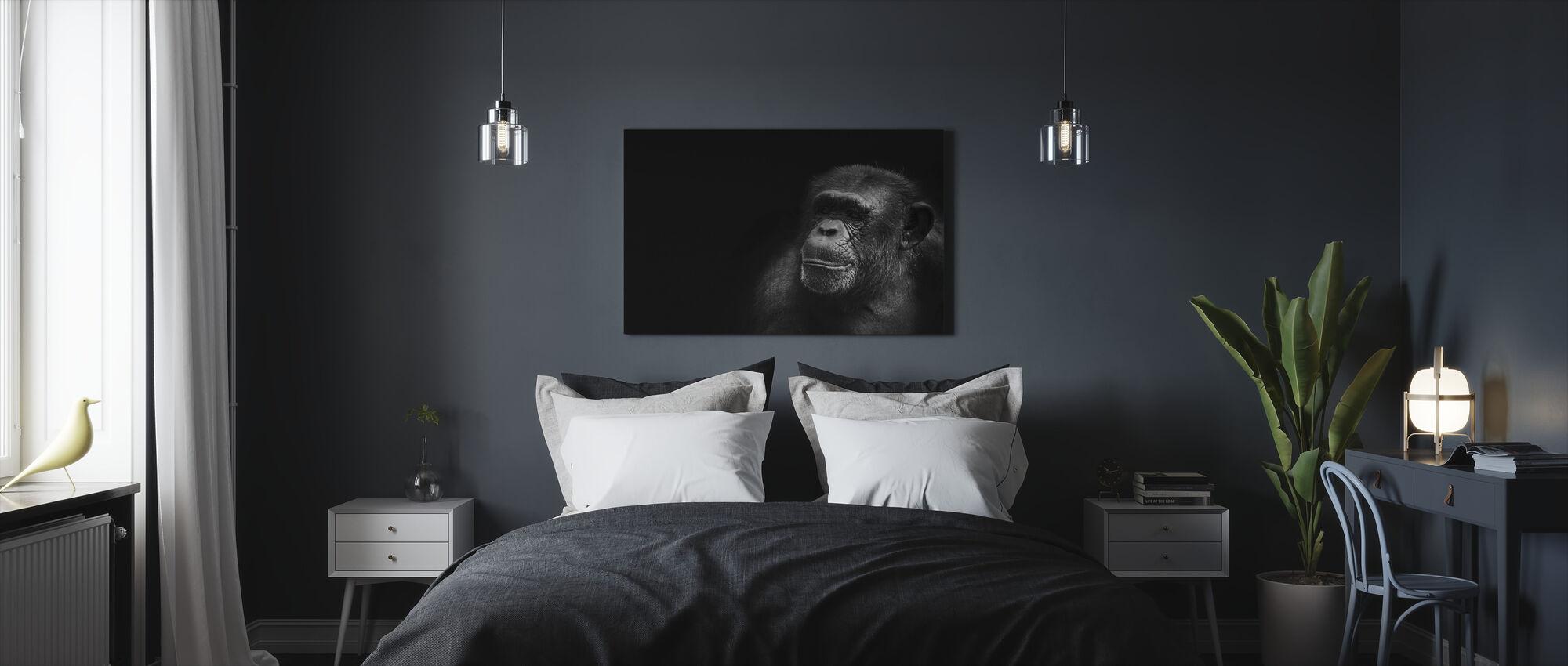 Apa och svart - Canvastavla - Sovrum