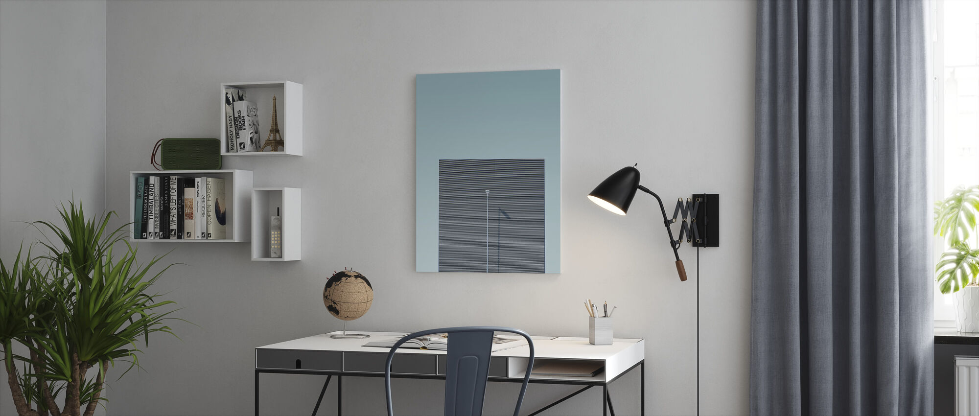 Lines and Lamp - Canvas print - Office