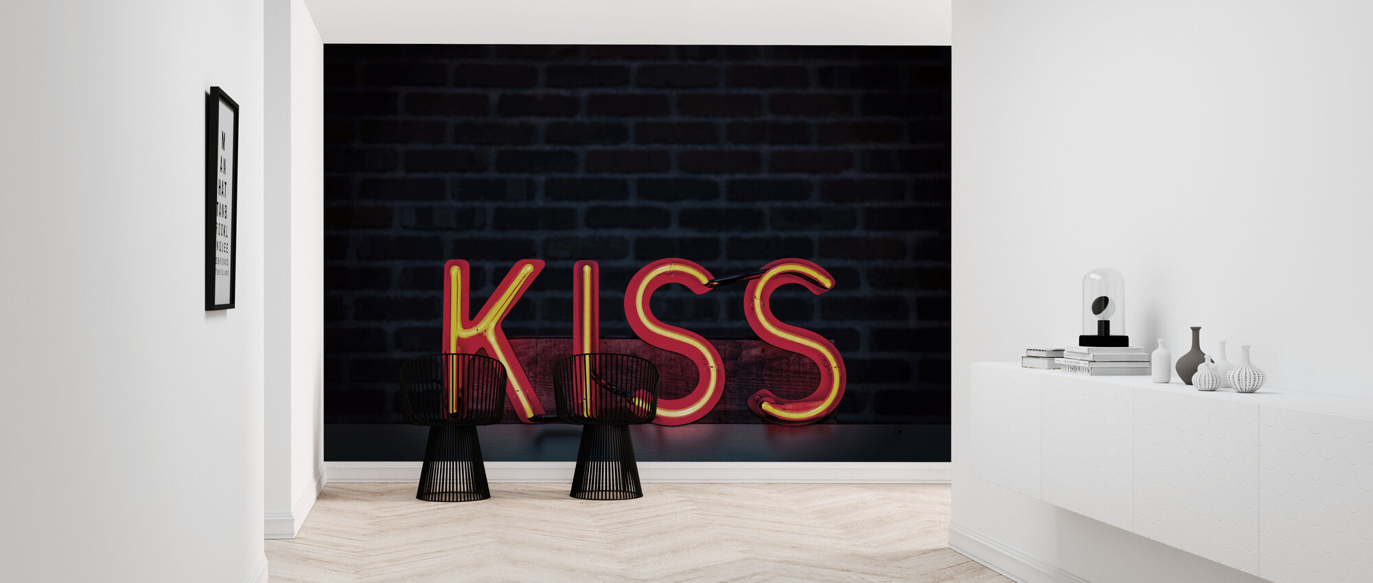 Kiss Neon Sign - Wallpaper - Hallway