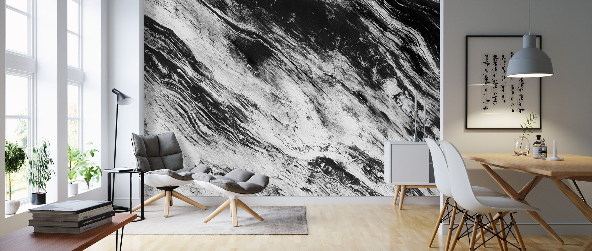 Black and White - Wallpaper - Living Room