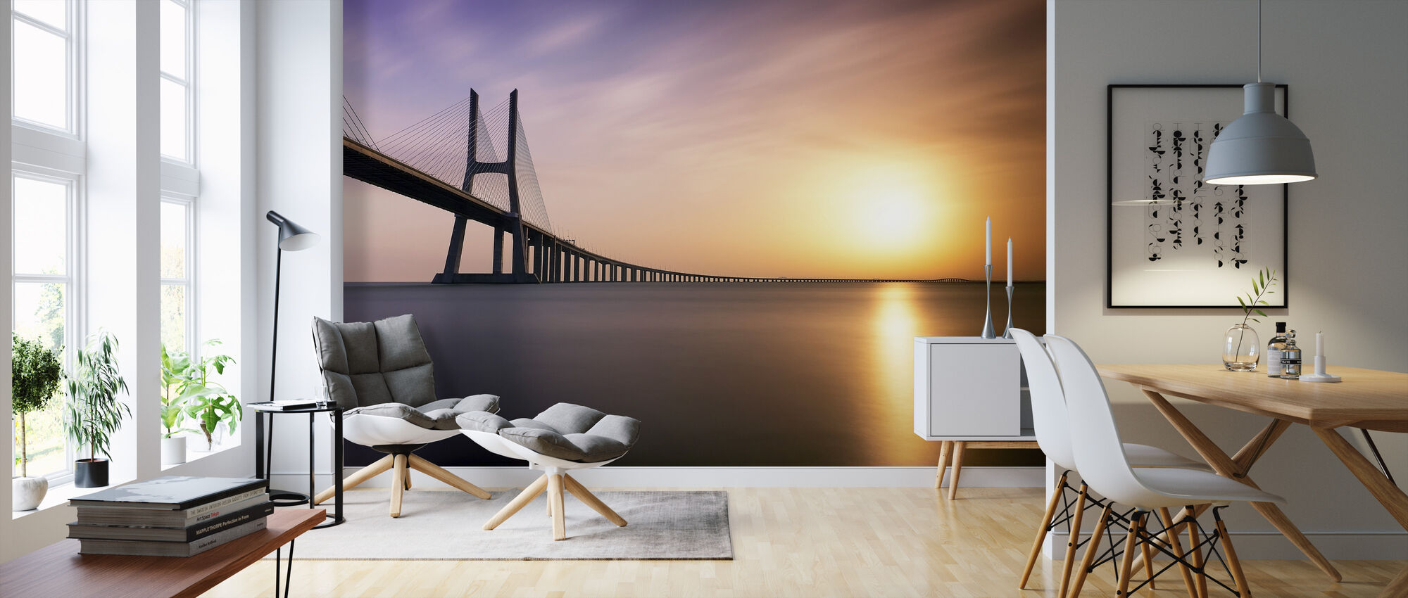 Sunrise by the Bridge - Wallpaper - Living Room