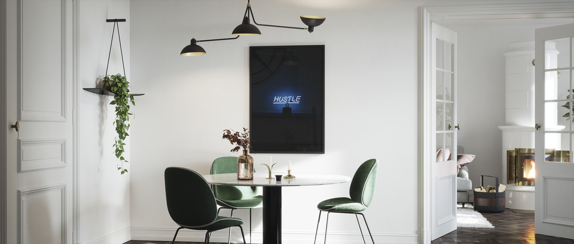 Hustle Neon Sign - Innrammet bilde - Kjøkken