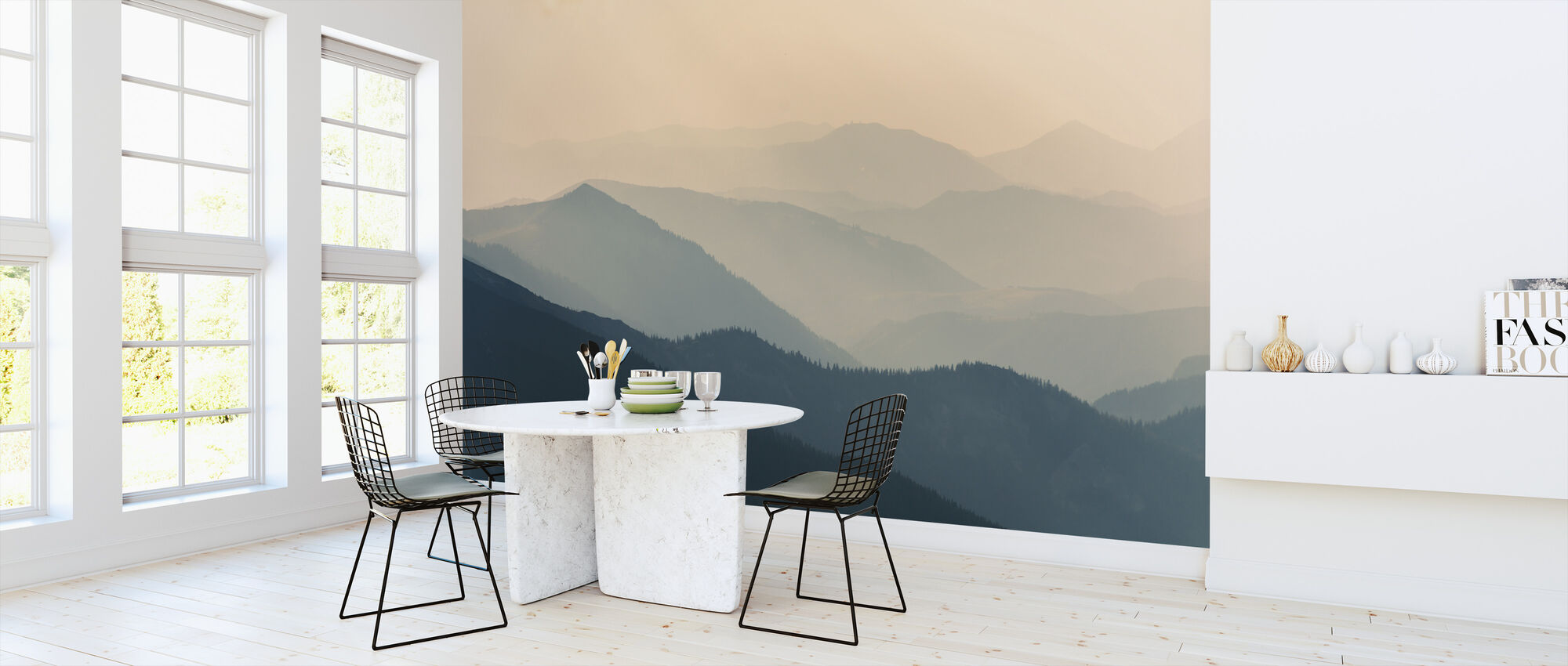 Bleke berg Silhouetten - Behang - Keuken