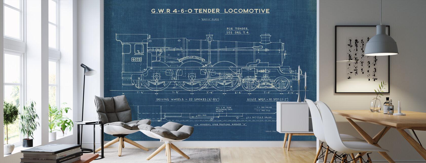 Locomotief Blauwdruk I - Behang - Woonkamer