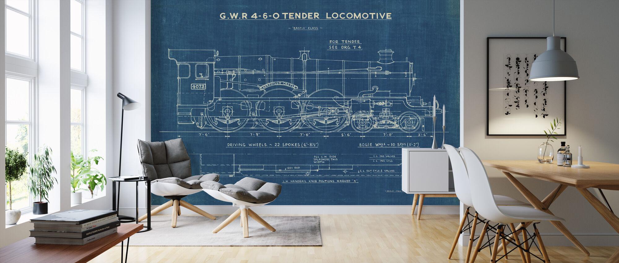 Locomotive Blueprint I - Wallpaper - Living Room