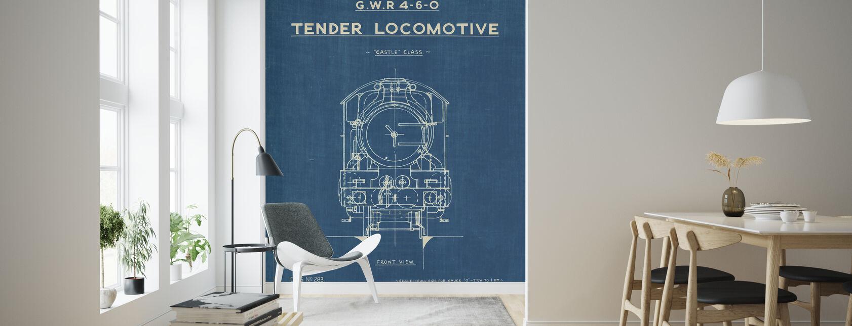 Lokomotiv ritning II - Tapet - Vardagsrum