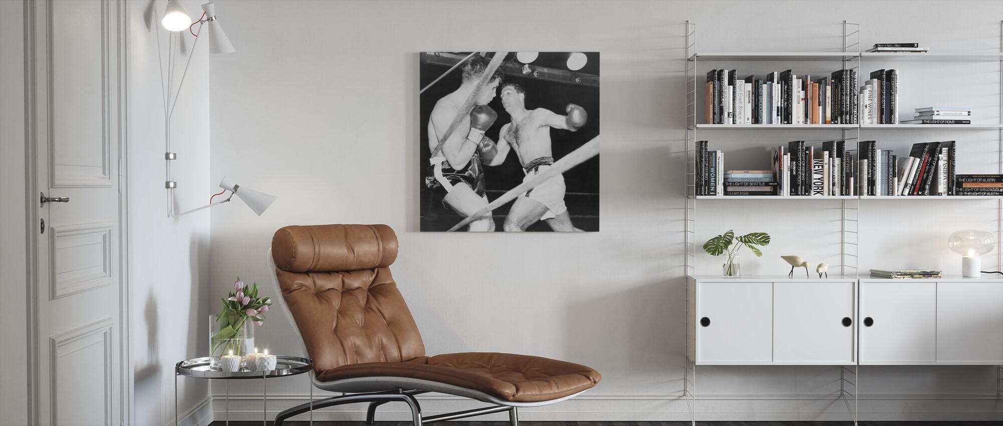 Rocky Marciano vs Roland LaStarza - Canvas print - Living Room