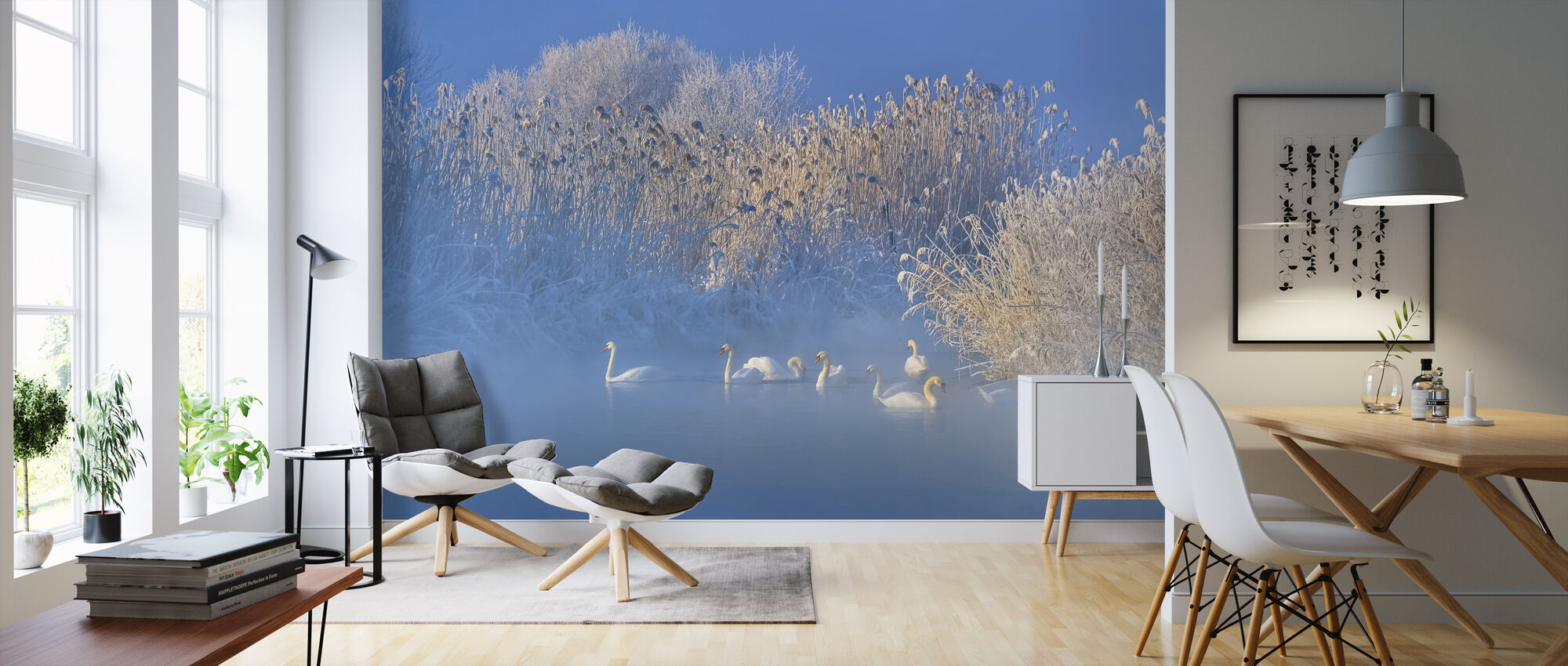 Blue Swan Lake - Wallpaper - Living Room