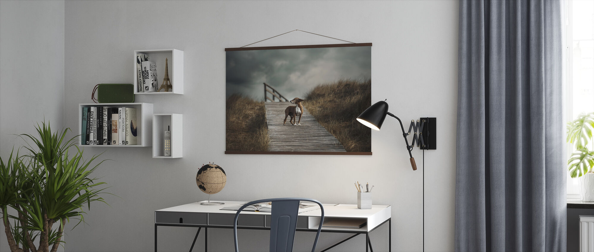Dog on Boardwalk - Poster - Office