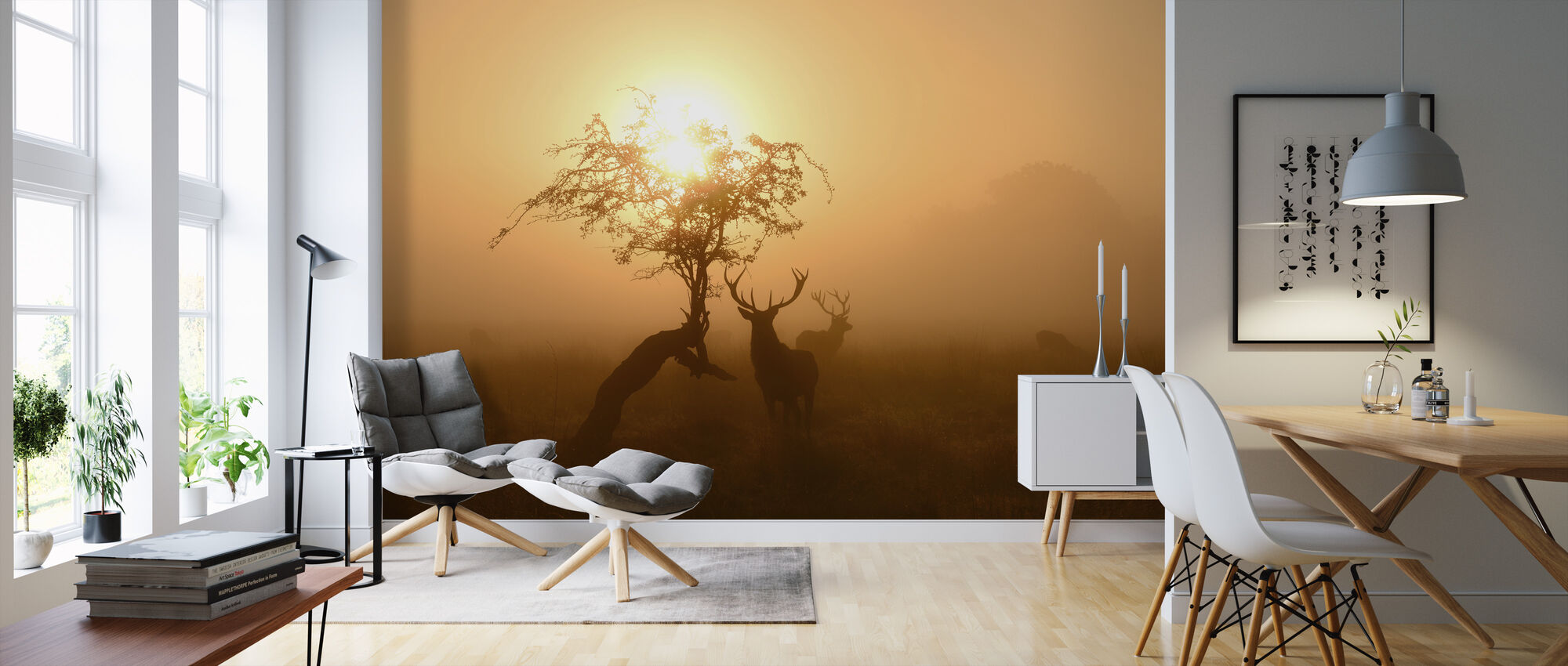 Sun and Deers - Wallpaper - Living Room