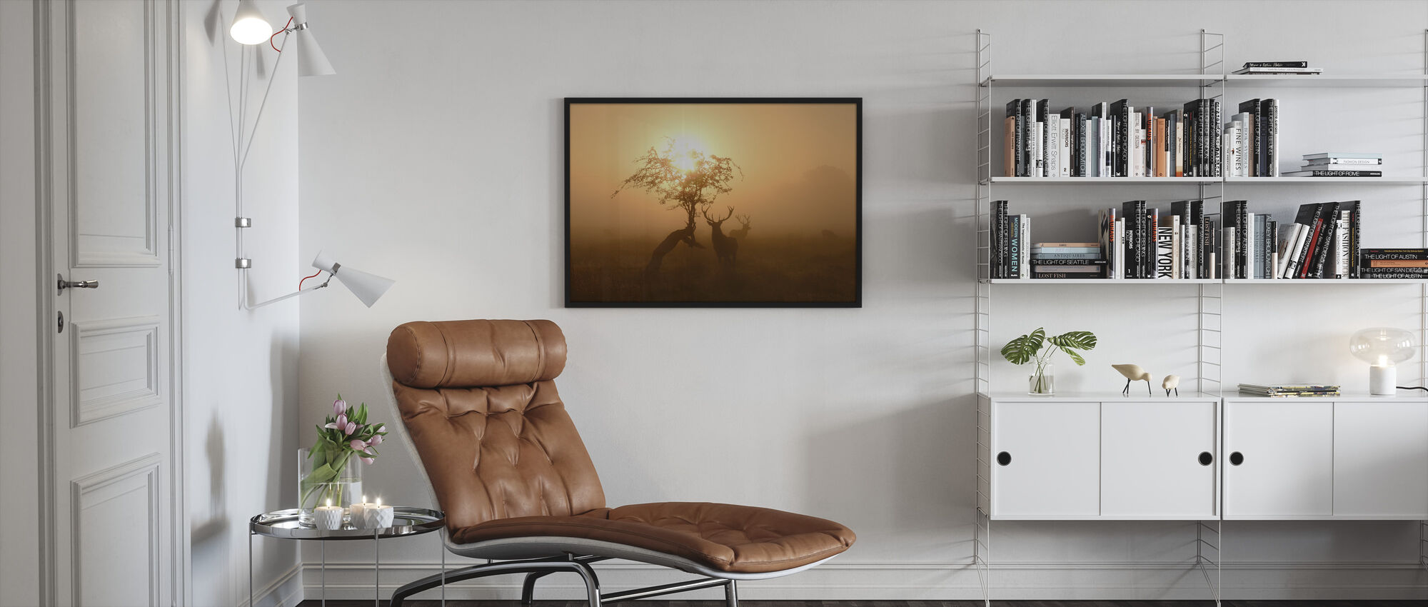 Sun and Deers - Framed print - Living Room