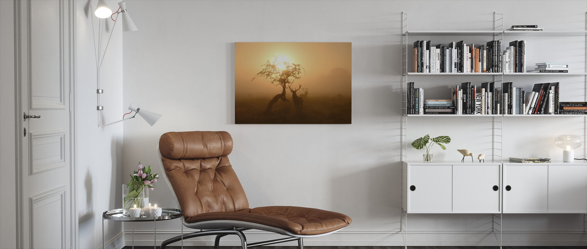 Sun and Deers - Canvas print - Living Room