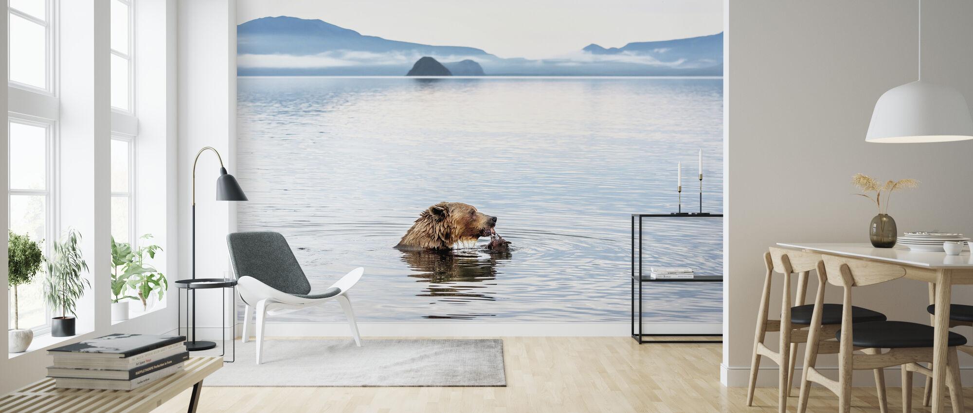 Bear Eating in the River - Wallpaper - Living Room