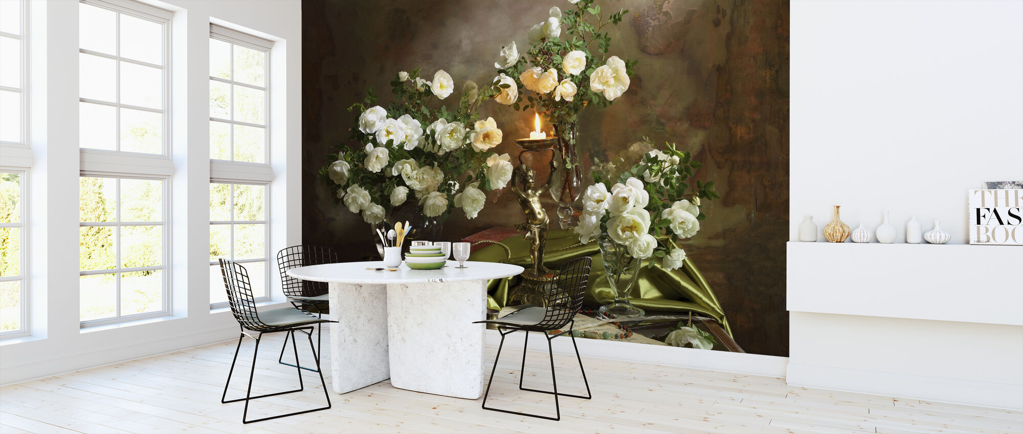 Still Life with Roses and Candle - Wallpaper - Kitchen