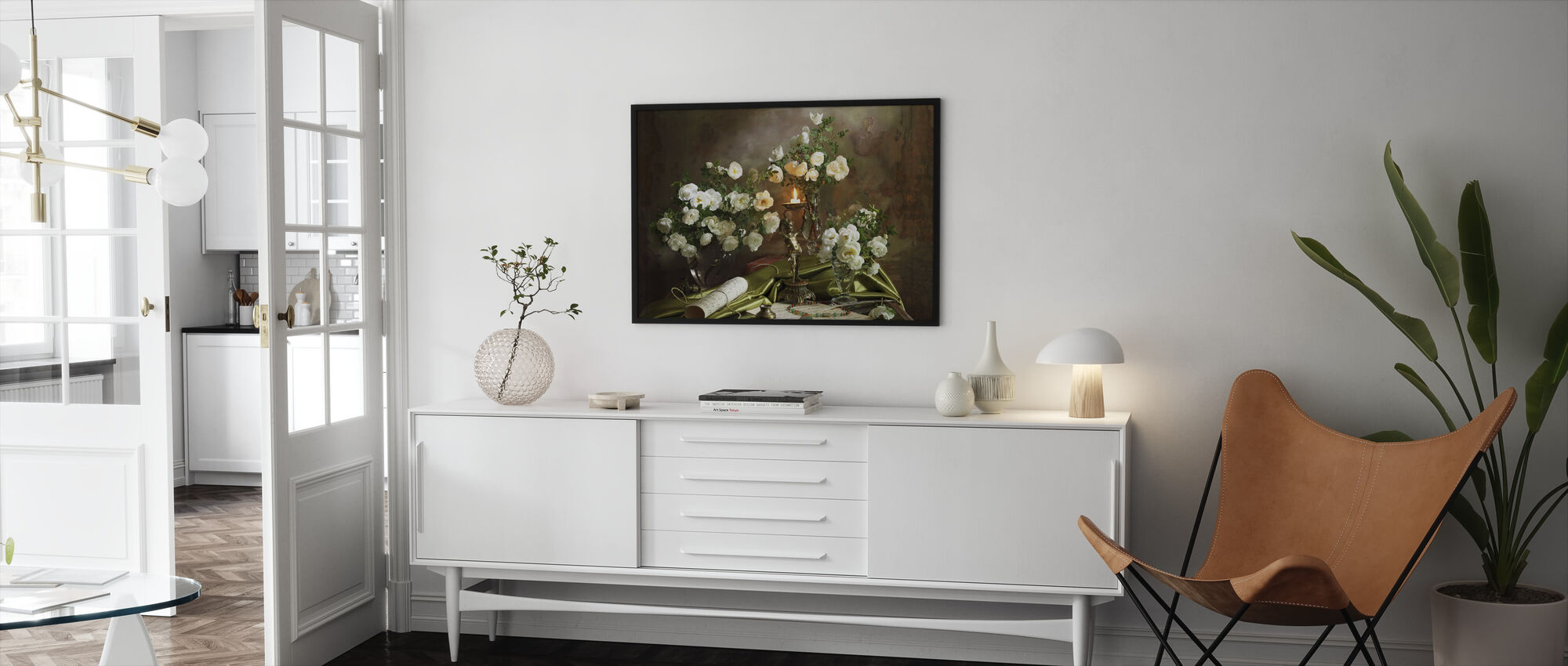 Still Life with Roses and Candle - Framed print - Living Room
