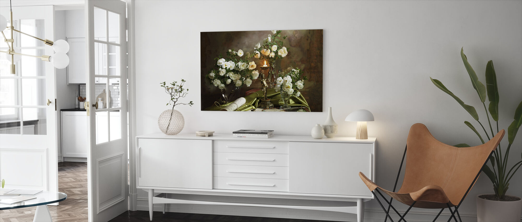 Still Life with Roses and Candle - Canvas print - Living Room