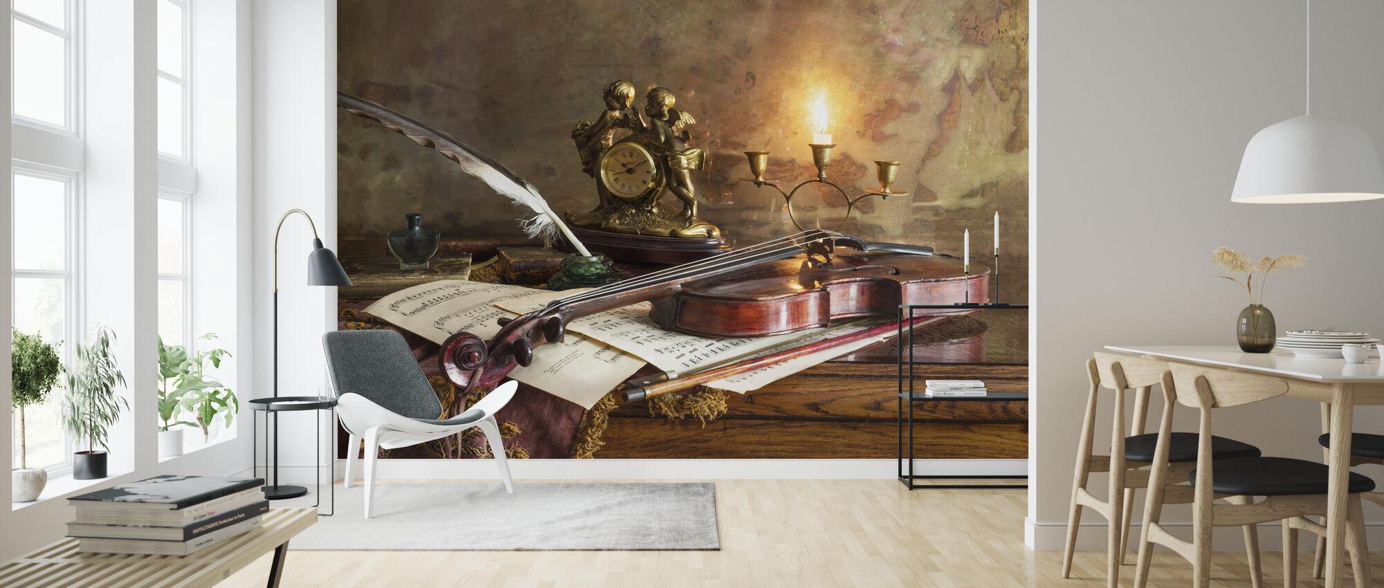 Still Life with Violin and Clock - Wallpaper - Living Room