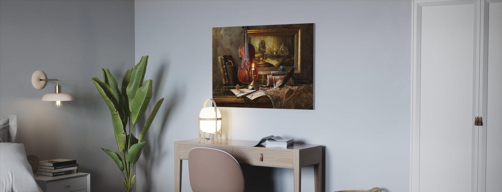Stadig Liv med Violin og Maleri - Billede på lærred - Kontor