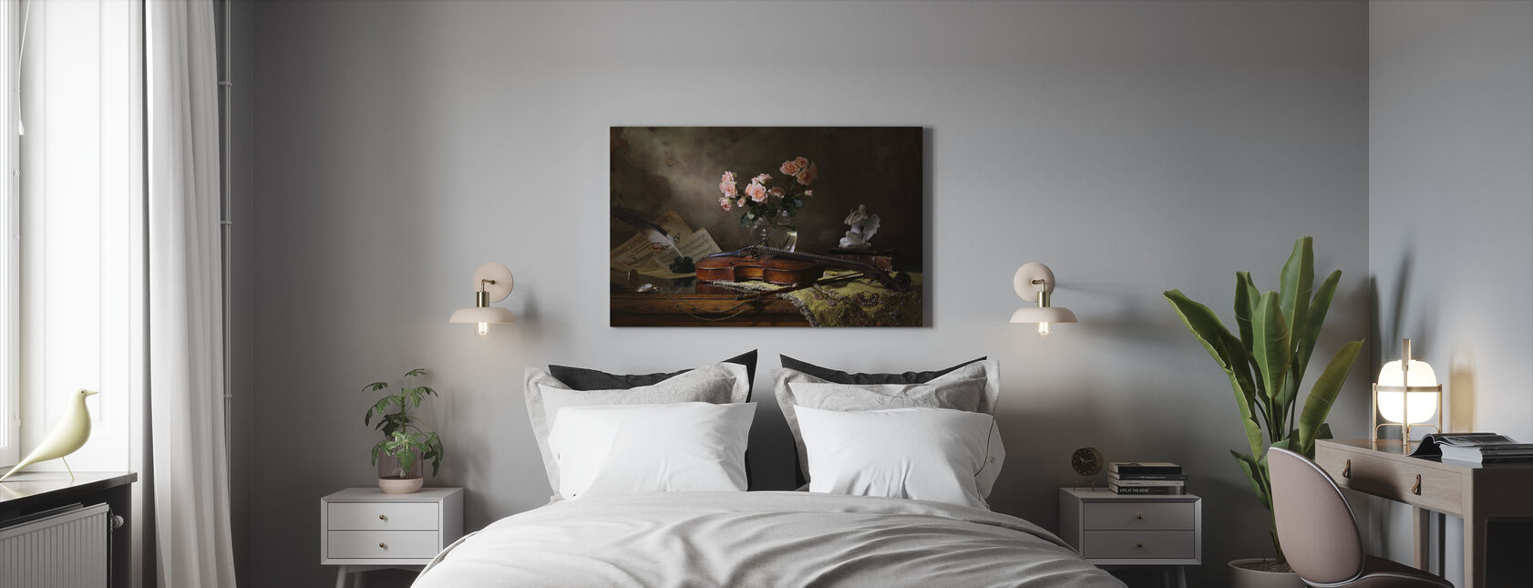 Still Life with Violin and Roses - Canvas print - Bedroom