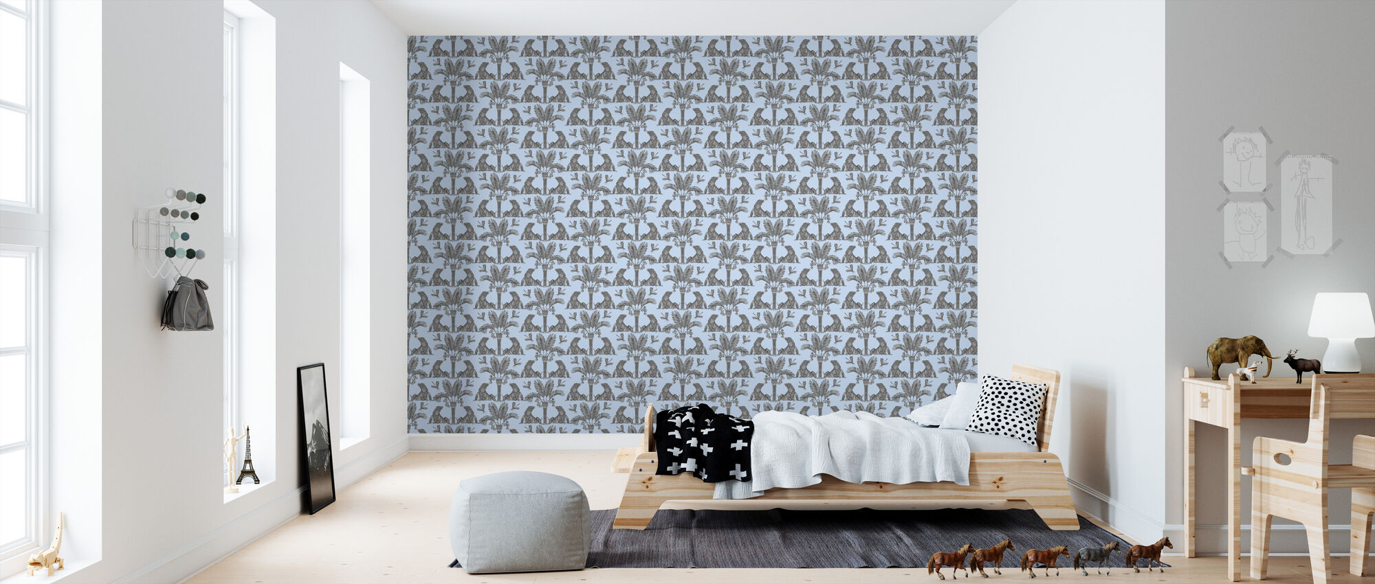 The Iguana Dream - Aqua and Steel - Wallpaper - Kids Room