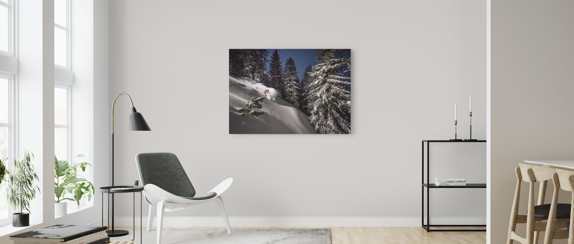 Night Powder Turns with Adrien Coirier - Canvas print - Living Room
