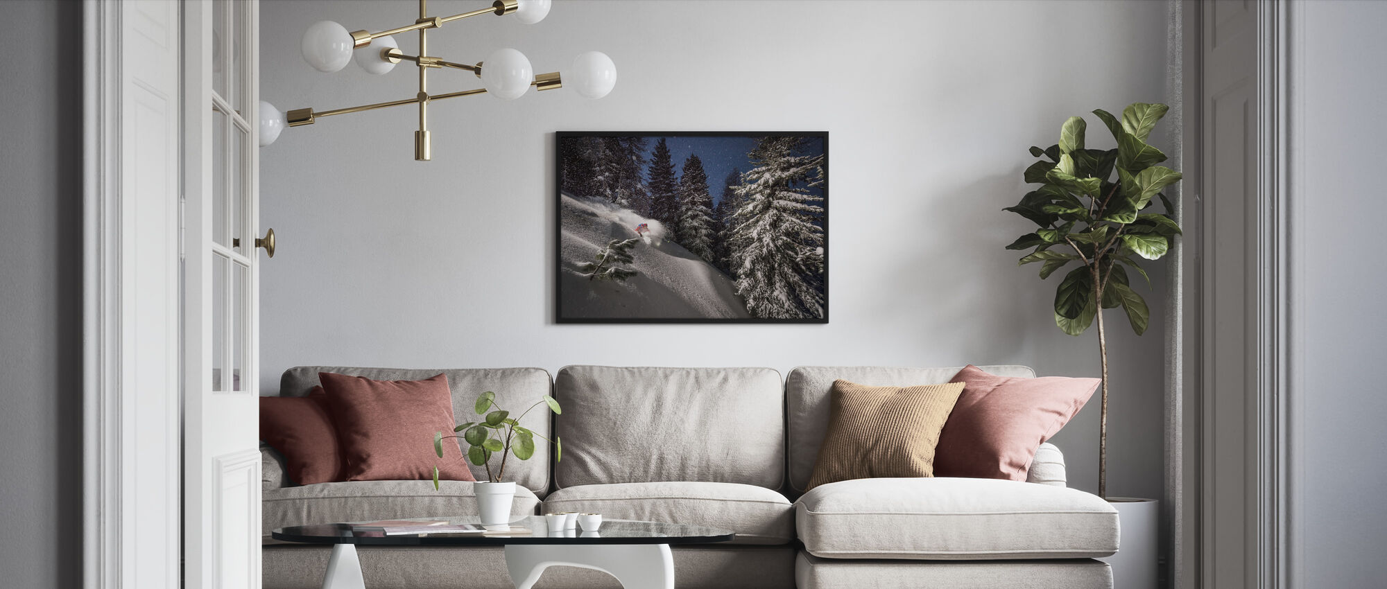Night Powder Turns with Adrien Coirier - Framed print - Living Room