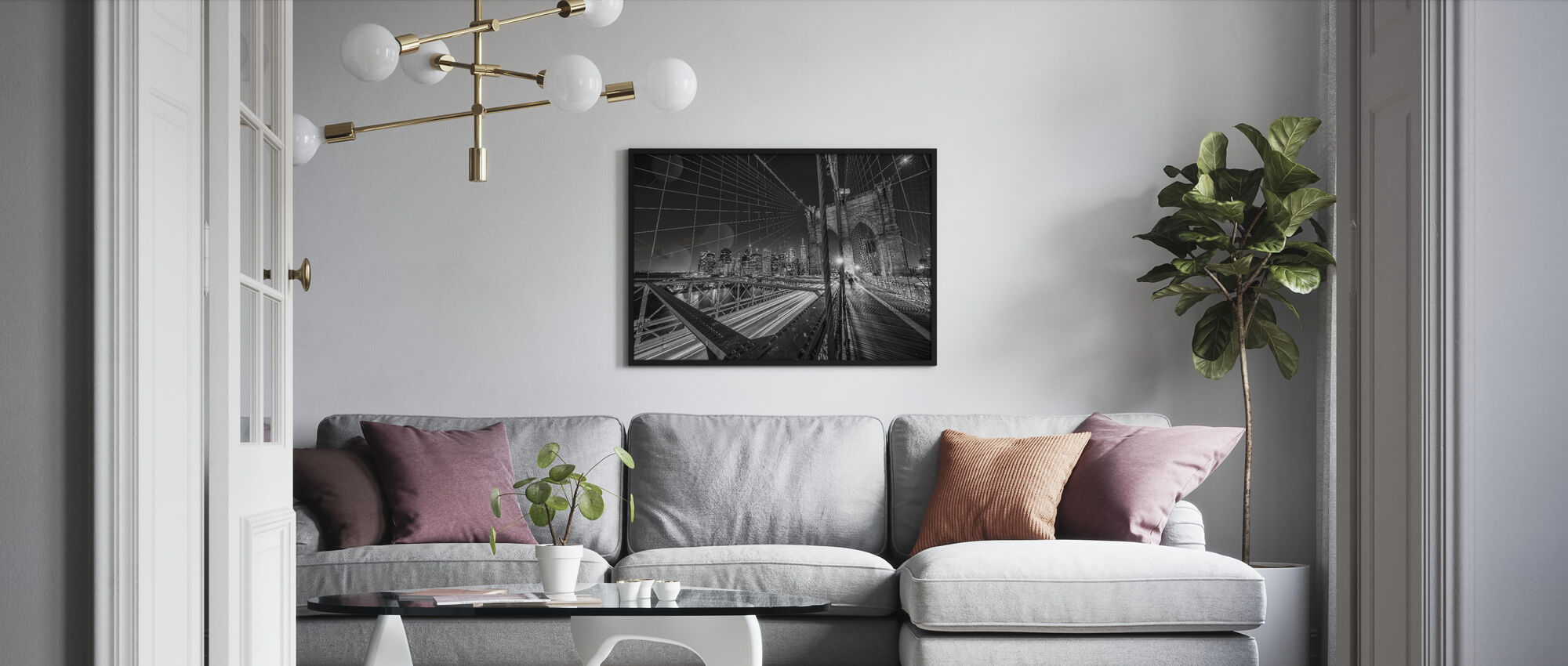 Brooklyn Bridge Lights - Framed print - Living Room
