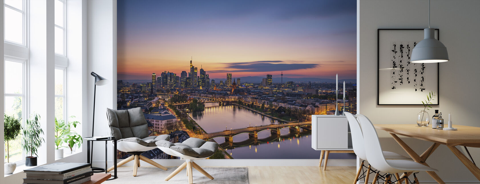 Skyline van Frankfurt bij zonsondergang - Behang - Woonkamer