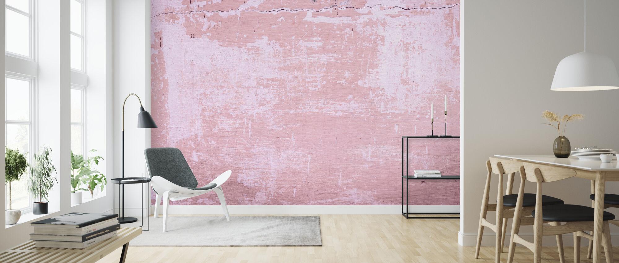 Murtunut vaaleanpunainen maalattu seinä - Tapetti - Olohuone
