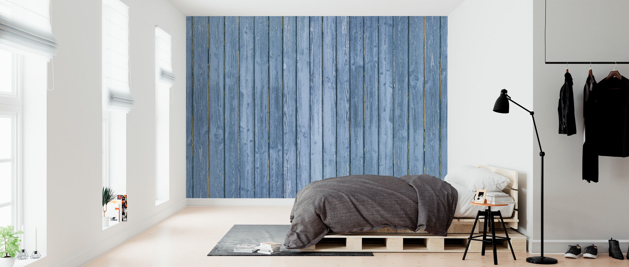 Blue Plank Wall - Wallpaper - Bedroom